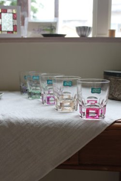 画像1: 古道具/デッドストック 昭和 レトロ ガラス ロックグラス5客セット