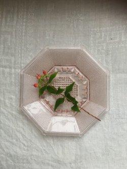 画像1: 古道具/デッドストック  ガラス 八角皿 小 オクタゴン ピンク