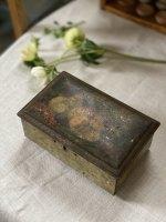 画像: アンティーク/TIN缶t (四角角脚/フルーツと花)
